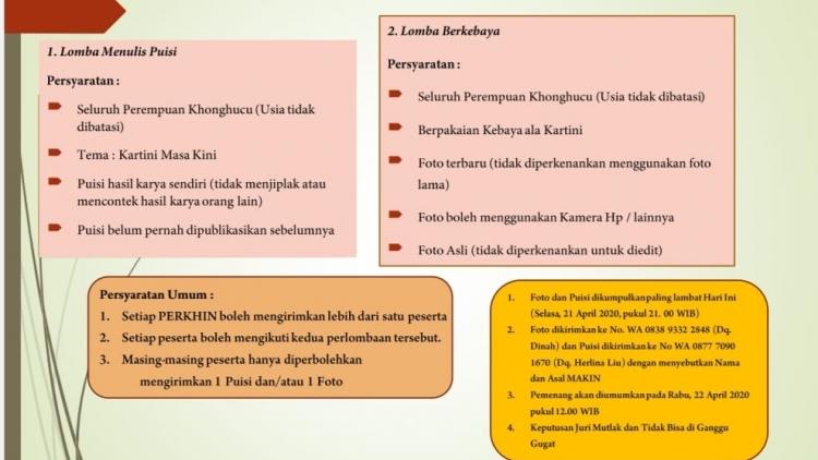 Memperingati Hari Kartini, PERKHIN Menggelar Lomba Menulis Puisi dan Busana Kebaya